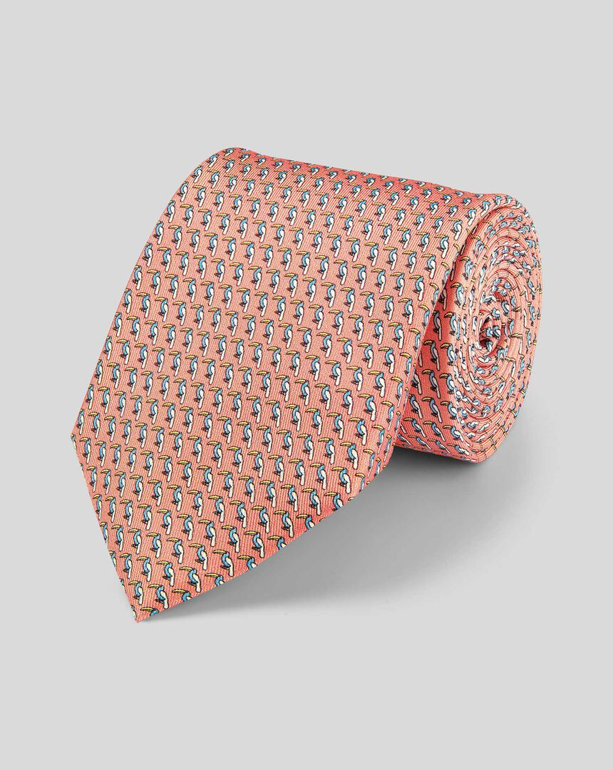Krawatte aus Seide mit Tukan-Print - Orange & Himmelblau