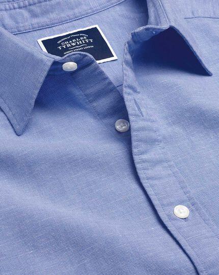 Cotton Linen Short Sleeve Shirt - Blue