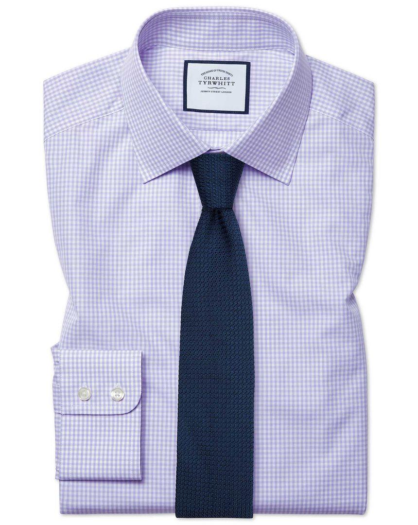 Slim fit small gingham lilac shirt