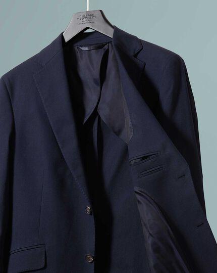 Slim Fit Blazer aus strukturiertem Baumwoll-Stretch in Marineblau