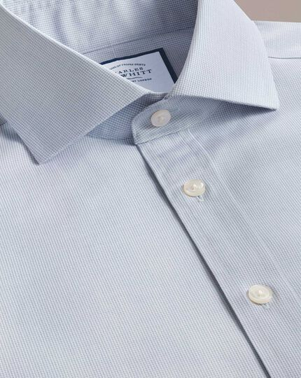 Extra slim fit non-iron spread collar grey puppytooth shirt