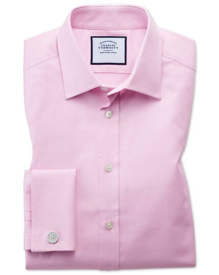 Classic fit Egyptian cotton trellis weave pink shirt