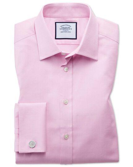 Classic Fit Hemd aus ägyptischer Baumwolle mit Gitterstruktur in Rosa