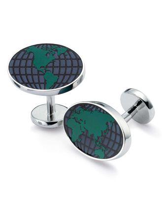 Globe enamel cufflink