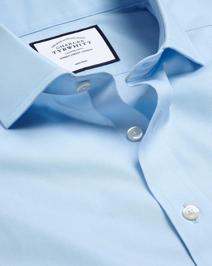 Cutaway Collar Non-Iron Poplin Shirt - Sky