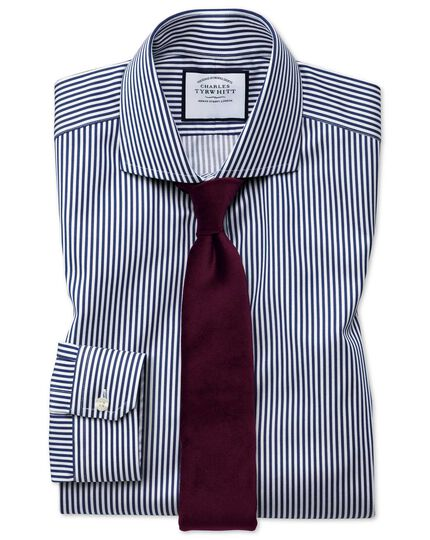 Super slim fit non-iron cutaway collar navy twill stripe shirt