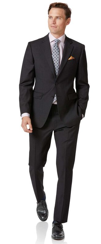 Charcoal slim fit twill business suit