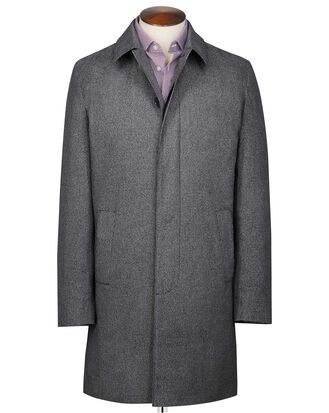Grey puppytooth cotton raincoat