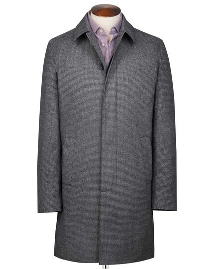 Grey puppytooth cotton raincoat