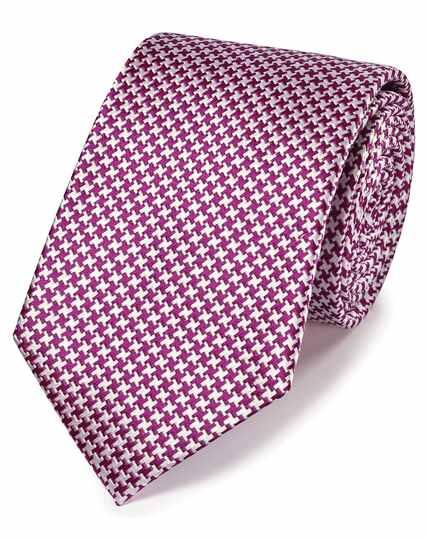 Cravate classique violette en soie anti-taches à motif pied-de-poule