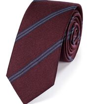 Burgundy wool and silk stripe slim tie