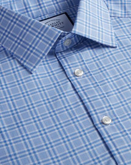 Brushed-Back Basketweave Check Shirt - Blue