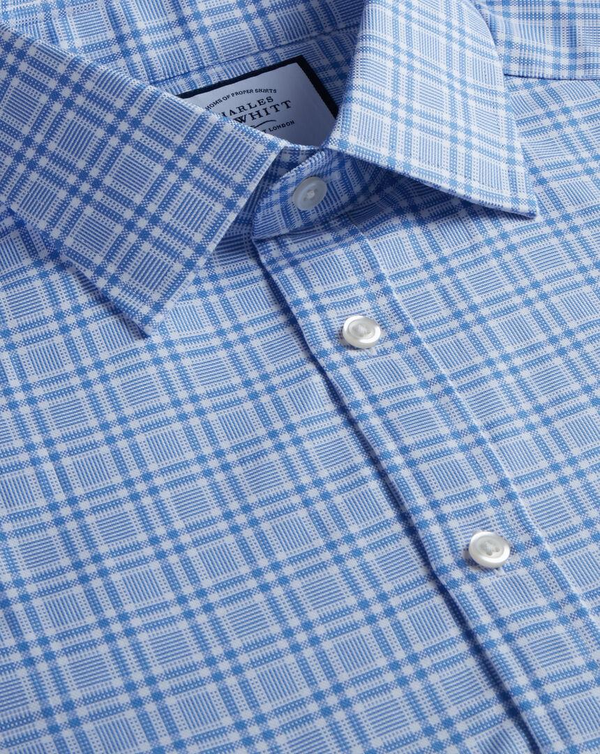 Hemd aus gebürstetem Basketweave mit Karos - Blau