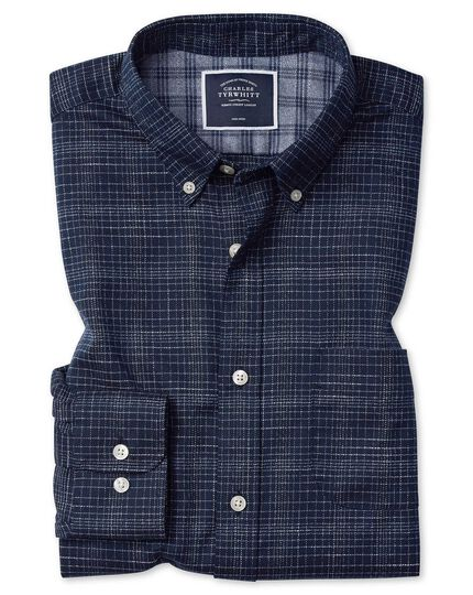 Extra slim fit soft washed non-iron twill navy grid check shirt