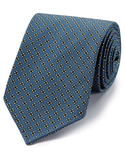 Blue and white geometric printed luxury English hand rolled silk tie
