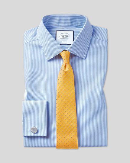 Chemise bleu ciel à rayures Bengale coupe droite sans repassage