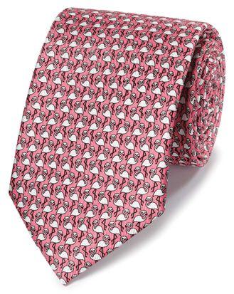 Coral flamingo print classic tie