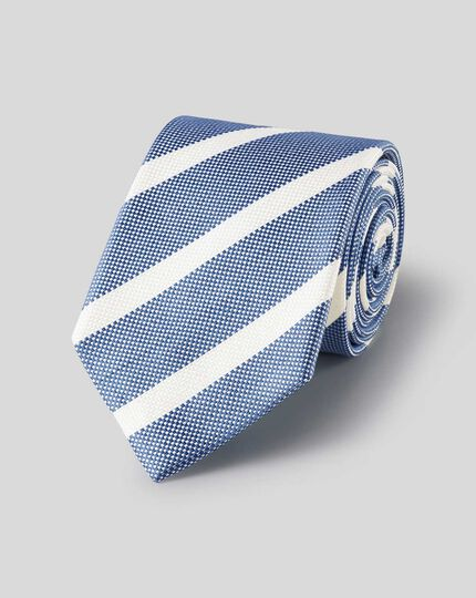 Silk Linen Stripe Tie - Blue & White