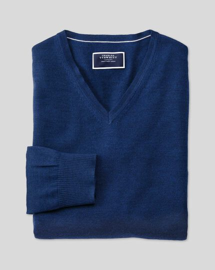 Merino V-neck Jumper - Royal Blue