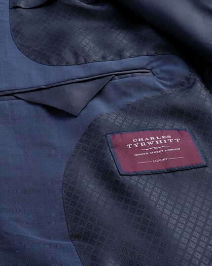 Blue slim fit Italian wool luxury suit jacket