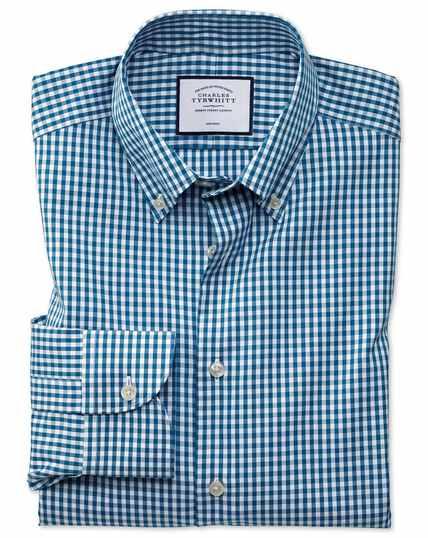 Chemise business casual bleu canard à carreaux et à col boutonné extra slim fit sans repassage