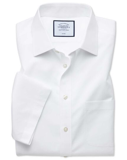 Slim fit non-iron natural cool short sleeve white shirt