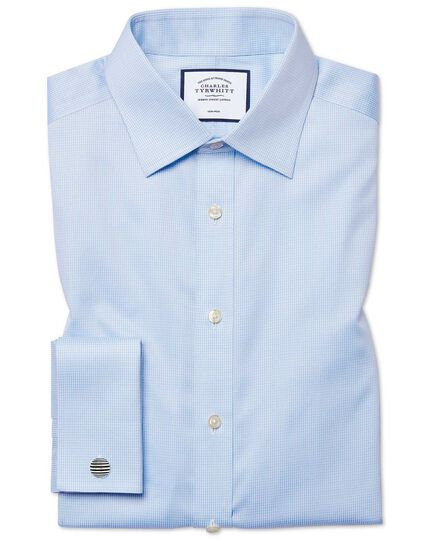 Slim fit non-iron sky blue puppytooth shirt