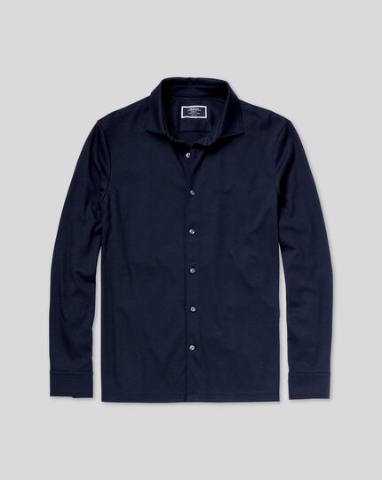 Hemd aus Jersey - Marineblau