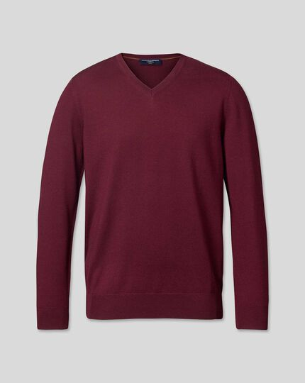 Merino V-Neck Jumper - Burgundy