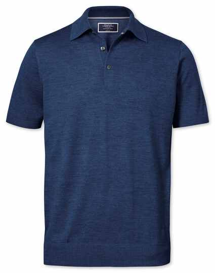 Mid blue merino wool polo collar short sleeve sweater