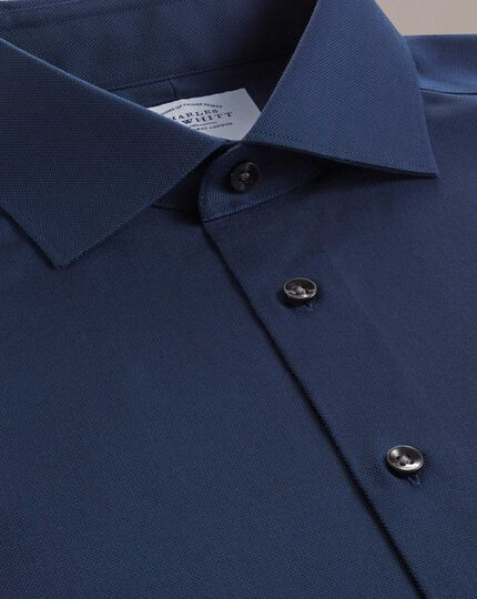 Classic Fit Business-Casual-Hemd aus Royal Oxford in Marineblau