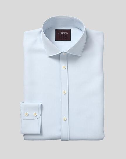 Classic fit semi-cutaway luxury twill light blue shirt