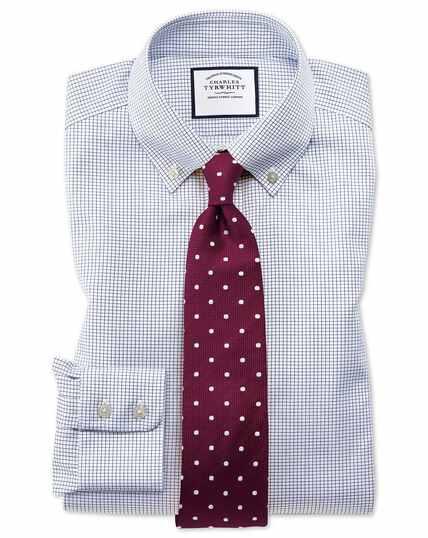 Slim fit button-down non-iron twill mini grid check navy shirt