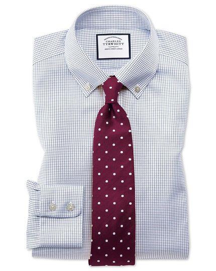 Bügelfreies Slim Fit Twill-Hemd mit Button-down Kragen in Marineblau mit Gitterkaro