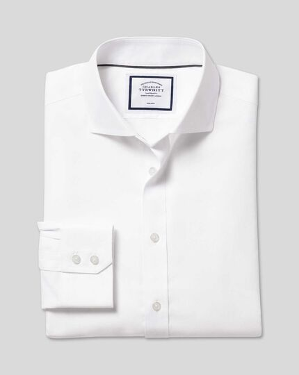 Spread Collar Non-Iron Ludgate Weave Shirt  - White