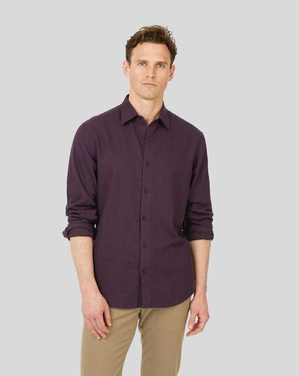 Classic Collar Dobby Flannel Textured Shirt - Berry & Navy