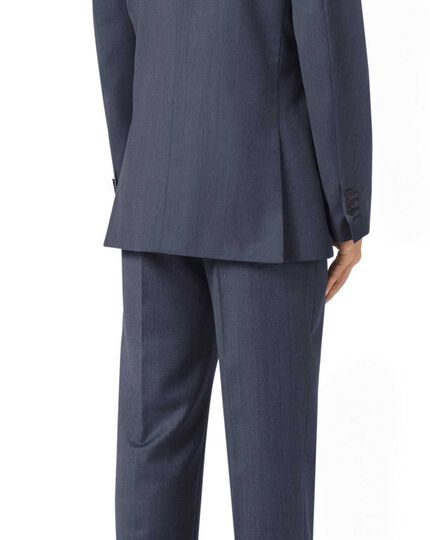 Light blue classic fit twill business suit jacket