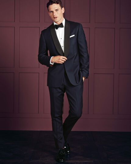 Midnight blue slim fit tuxedo pants