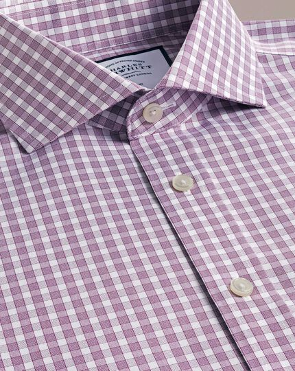 Non-Iron Twill Cut-Away Collar Gingham Shirt - Berry