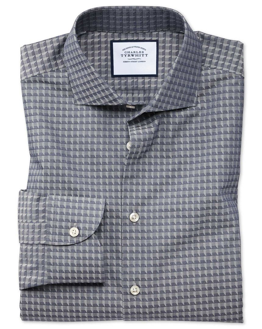 Classic fit business casual navy geometric shirt