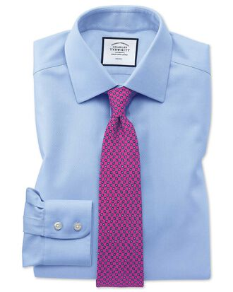 Slim fit non-iron sky blue arrow weave shirt