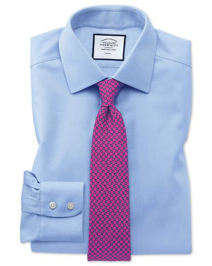 Slim fit non-iron sky blue arrow weave shirt