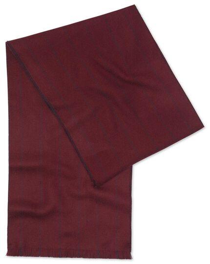 Wine and red stripe merino scarf