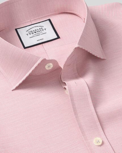 Spread Collar Non-Iron Cotton Slub Shirt - Pink