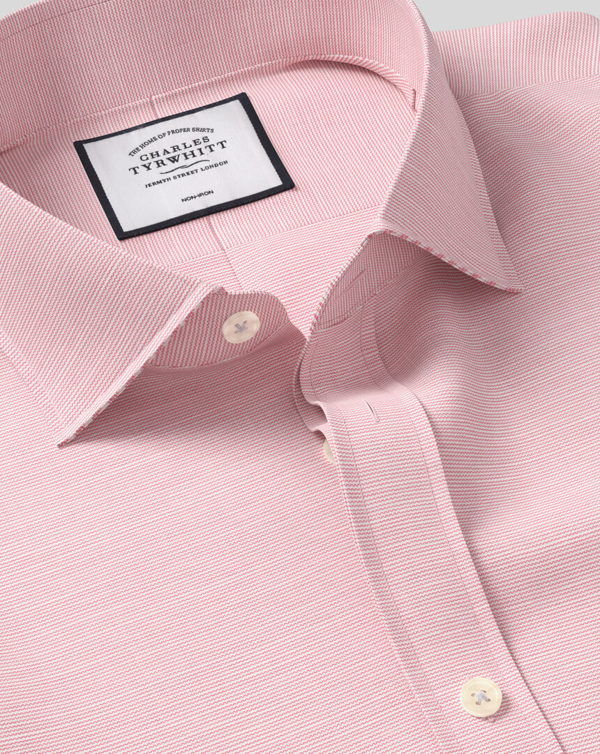 Cutaway Collar Non-Iron Cotton Slub Shirt - Pink