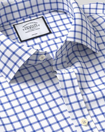 Slim fit non-iron royal blue grid check twill shirt