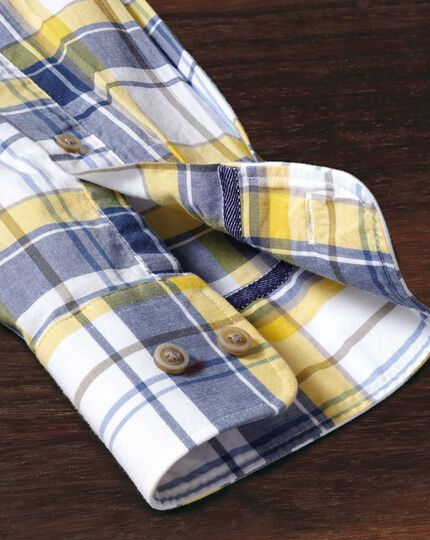 Slim fit button-down poplin navy blue and yellow check shirt