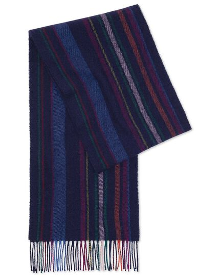 Navy multi stripe lambswool scarf