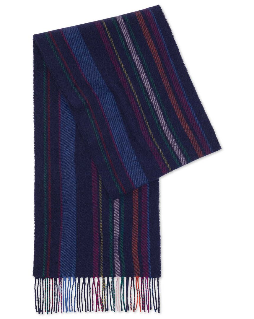 Navy multi stripe lambswool scarf