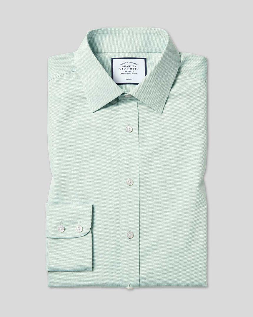 Bügelfreies Hemd mit Kent Kragen und Micro-Diamond-Muster - Grün